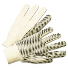 1000 Series Pvc Dotted Canvas Gloves, White/black, Large, 12 Pairs