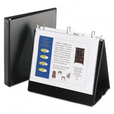 """Easel Presentation Durable Binder, 1"""" Round Rings, Holds 11 X 8 1/2 Paper, Black"""
