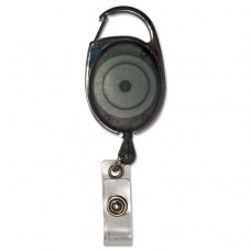 """Carabiner-Style Retractable Id Card Reel, 30"""" Extension, Smoke, 12/pack"""
