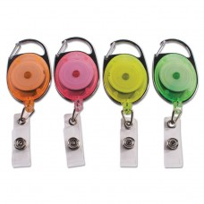"""Carabiner-Style Retractable Id Card Reel, 30"""" Extension, Assorted Neon, 20/pack"""