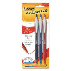 Atlantis Bold Retractable Ball Pen, Assorted Ink, 3/pack