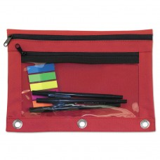 Binder Pouch With Pvc Pocket, 9 1/2 X 7, Red, 6/pack