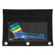 Binder Pouch With Pvc Pocket, 9 1/2 X 7, Black, 6/pack