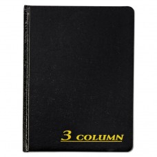 Account Book, 3 Column, Black Cover, 80 Pages, 7 X 9 1/4