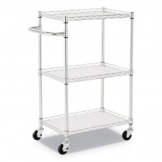 """3-SHELF WIRE CART WITH LINERS, 28 1/2"""" X 16"""" X 39"""", SILVER, 500 LBS CAPACITY"""