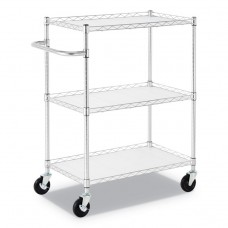"""3-SHELF WIRE CART WITH LINERS, 34 1/2"""" X 18"""" X 40"""", SILVER, 600 LBS CAPACITY"""