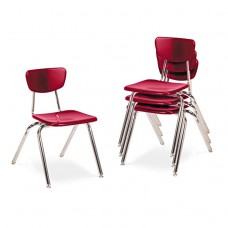 """3000 Series Classroom Chairs, 16"""" Seat Height, Red, 4/carton"""