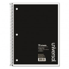 1 Sub. Wirebound Notebook, 10 1/2 X 8, College Rule, 70 Sheets, Black Cover