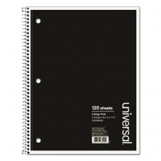 3 SUBJECT WIREBOUND NOTEBOOK, 11 X 8 1/2, COLLEGE RULE, 120 SHEETS, BLACK COVER