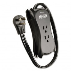 """3-Outlet Travel-Size Surge Protector, 18"""" Cord, 2-Port 2.1a Usb Charger, 1050 J"""