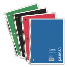 1 Sub. Wirebound Notebook, 10 1/2 X 8, Wide Rule, 70 Sht, Assorted Covers, 4/pk
