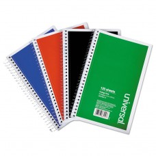 3 Sub. Wirebound Notebook, 9.5 X 6, College Rule, 120 Sht, Assorted Covers, 4/pk