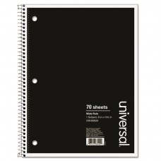 1 Sub. Wirebound Notebook, 10 1/2 X 8, Wide Rule, 70 Sheets, Black Cover