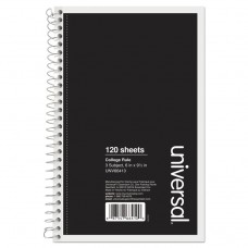 3 Sub. Wirebound Notebook, 9 1/2 X 6, College Rule, 120 Sheets, Black Cover