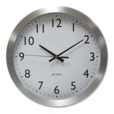 """BRUSHED STEEL FINISH WALL CLOCK, 12"""", SILVER, 1 AA BATTERY"""