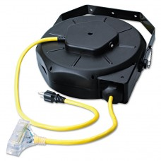 Retractable Industrial Extension Cord Reel, 50ft, Yellow/black