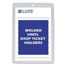 CLEAR VINYL SHOP TICKET HOLDER, BOTH SIDES CLEAR, 25 SHEETS, 5 X 8, 50/BX