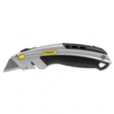 Curved Quick-Change Utility Knife, Stainless Steel Retractable Blade, 3 Blades