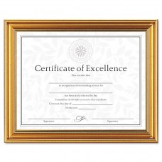 Antique Colored Document Frame W/certificate, Plastic, 8 1/2 X 11, Gold