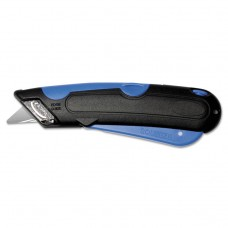 Easycut Cutter Knife W/self-Retracting Safety-Tipped Blade, Black/blue