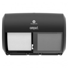 """Compact Coreless Side-By-Side Double Roll Tissue Dispenser, 11.5"""" X 8"""", Black"""