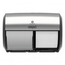 Compact Coreless Side-By-Side Double Roll Tissue Dispenser, 11 X 7 3/8, White