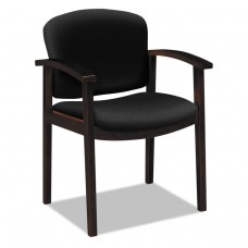 2111 Invitation Reception Series Wood Guest Chair, Mahogany/solid Black Fabric