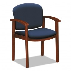 2111 Invitation Reception Series Wood Guest Chair, Navy, Fabric, Cognac Finish