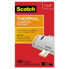 Business Card Size Thermal Laminating Pouches, 5 Mil, 3 3/4 X 2 3/8, 100/pack