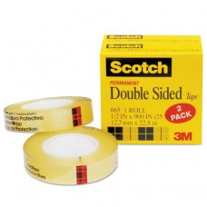 """665 Double-Sided Tape, 1/2"""" X 900"""", 1"""" Core, Clear, 2/pack"""
