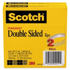 """665 Double-Sided Tape, 1/2"""" X 1296"""", 3"""" Core, Transparent, 2/pack"""