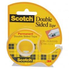 """665 Double-Sided Permanent Tape In Handheld Dispenser, 1/2"""" X 250"""", Clear"""