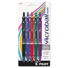 Acroball Colors Ball Point Pen, 1mm, Black/blue/green/purple/red, 5/pack
