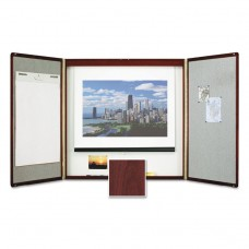 Marker Board Cabinet With Projection Screen, 48 X 48 X 24, White/mahogany Frame