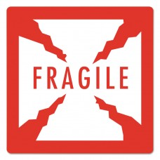 """Pre-Printed Shipping Labels, 4 X 4, """"fragile"""", 1500/roll, 4 Rolls/carton"""