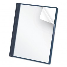 """Clear Front Report Cover, 3 Fasteners, Letter, 1/2"""" Capacity, Dark Blue, 25/box"""