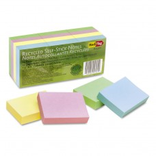 100% Recycled Notes, 1 1/2 X 2, Four Pastel Colors, 12 100-Sheet Pads/pack