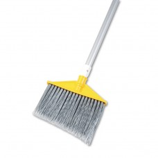 """Angled Large Brooms, Poly Bristles, 48 7/8"""" Aluminum Handle, Silver/gray"""