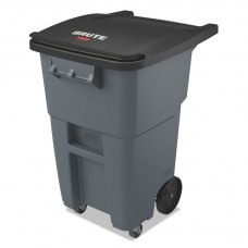 Brute Rollouts With Casters, Square, 50 Gal, Gray