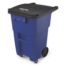 Brute Rollouts With Casters, Square, 50 Gal, Blue