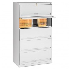 CLOSED FIXED 5-SHELF LATERAL FILE, 36 X 16 1/2 X 63 1/2, LIGHT GRAY