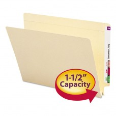 1 1/2 Inch Expansion Folders, Straight End Tab, Letter, Manila, 50/box