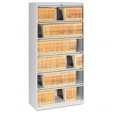 CLOSED FIXED 6-SHELF LATERAL FILE, 36 X 16 1/2 X 75 1/4, LIGHT GRAY