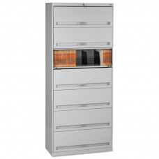 CLOSED FIXED 7-SHELF LATERAL FILE, 36 X 16 1/2 X 87, LIGHT GRAY
