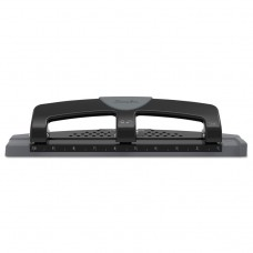 """12-Sheet Smarttouch Three-Hole Punch, 9/32"""" Holes, Black/gray"""