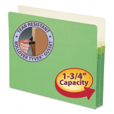 """1 3/4"""" Exp Colored File Pocket, Straight Tab, Letter, Green"""