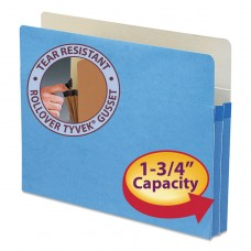 """1 3/4"""" Exp Colored File Pocket, Straight Tab, Letter, Blue"""
