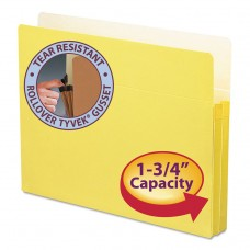 """1 3/4"""" Exp Colored File Pocket, Straight Tab, Letter, Yellow"""