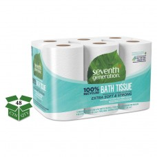 100% Recycled Bathroom Tissue, 2-Ply, White, 240 Sheets/roll, 48/carton
