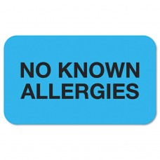 """""""No Known Allergies"""" Medical Labels, 7/8 X 1-1/2, Light Blue, 250/roll"""